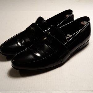 Prada apron toe black patent penny loafers size 13